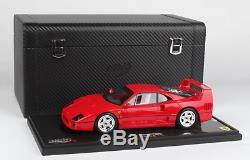 1/18 BBR 1987 FERRARI F40 RED With DISPLAY CASE & CARBON STORAGE BOX LTD. 50 PCS
