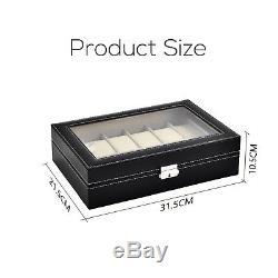 10/12/24 Slot Watch Box Leather Display Case Organizer Top Glass Jewelry Storage