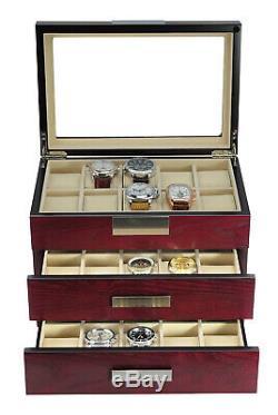10 20 30 Wrist Watch Oak Storage Display Chest Box Display Wooden Case Cabinet