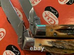 12 Case Red STAG Fixed Blade Hunting Knife Set Store Display 65-69 Vintage Minty