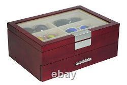 12 Piece Cherry Wood Eyeglass Sunglass Two Level Display Case Drawer Storage Box
