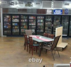 14 door retail store cooler, 3 phase r404a refrigerant, dual evaporators
