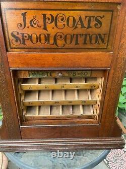 1880's ANTIQUE J. P. COATS OAK SPOOL THREAD STORE TABLE TOP DISPLAY CASE CABINET
