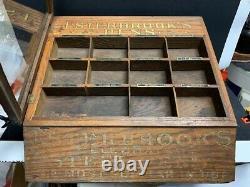 1920 30's Oak Esterbrooks Celebrated Steel Pens Nib Counter Store Display Case