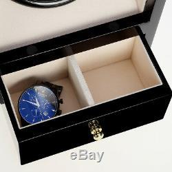 2+2 Automatic Luxury Wood Watch Winder Display Box Organizer Storage Case