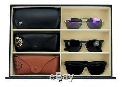 24 Black Carbon Fiber Drawer Eyeglass Sunglass Oversized Storage Display Case