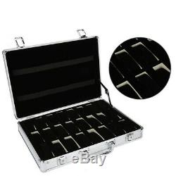 24 Grid Aluminum Suitcase Case Display Storage Box Watch Storage Box Case W V6H9