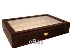 24 Wrist Watch Coromandel Storage Display Chest Box Display Wooden Case Cabinet