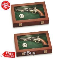 (2X) Collectors Handgun Gun Display Case Storage Solid Hardwood Hang Rack Glass