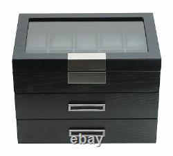 30 Watch Black Ebony Wood Display Case Drawer Storage Box Stainless Steel