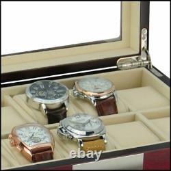 30 Watch Cherry Wood Display Case Drawer Storage Organizer Box Stainless Steel