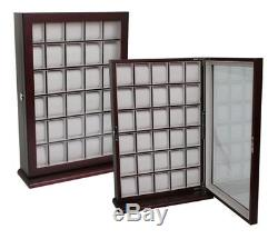 30 Watch Cherry Wood Display Wall Case Stand Rosewood Storage Organizer Box Hang