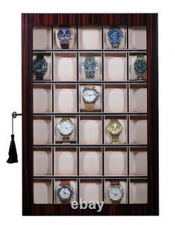 30 Watch Ebony Walnut Wood Display Wall Case Stand Storage Organizer Box Hang