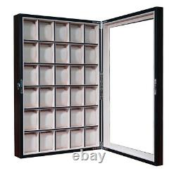 30 Watch Ebony Walnut Wood Display Wall Case Stand Storage Organizer Box Hang