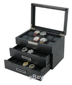 30 Wrist Watch Black Oak Wood Leather Storage Chest Display Box Case Cabinet