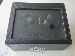 4+6 Automatic Motor Watch Winder Watches Carbon Fibre Storage Display Case Box