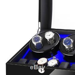 4+6 Automatic Watch Winder Carbon Fiber Jewelry Storage Case Watches Display Box