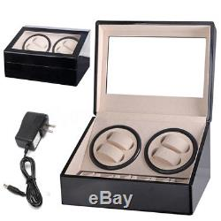 4+6 Automatic Watch Winder Wooden Dual Automatic Motor Storage Display Case Box