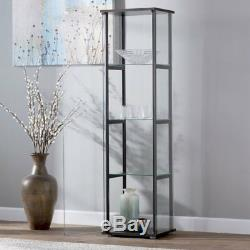 4-Shelf Glass Curio Cabinet Storage Display Case Tall Wall Shelve Living Room