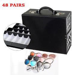 48 Slot Luxury Sunglass Glasses Organizer Box Eyeglasses Display Storage Case US