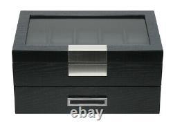 5 10 20 Wrist Watch Black Oak Wood Leather Storage Display Box Case Chest Drawer