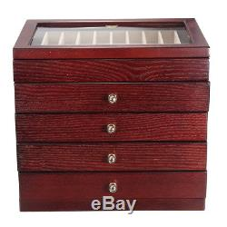 5 Layer Large Wooden Box Fountain Pen Display Storage Wood Case 50 Pens USA