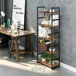 5-Tier Bookshelf Organizer Bookcase Leaning Wall Shelving Storage Display Rack