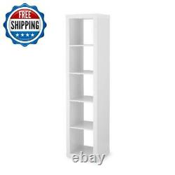 5 Tier Storage Cube Cabinet Rack Organizer Bookcase Shelf Display Shelves White
