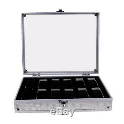 6-24 Slots Aluminium Watch Travel Case Jewellery Organiser Storage Display Box
