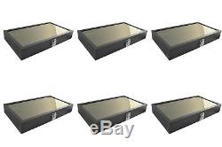 6 Black Glass Lid Top Utility Display Storage Sales Boxes Jewelry Cases
