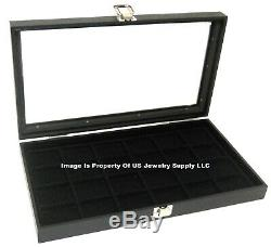 6 Glass Top Black 24 Space Jewelry Pins Display Storage Cases & Carrying Case
