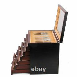 6 Layers Wooden Box Fountain Pen Display Storage Collector 78 Slots Case Box USA