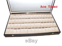 60 Watch Glass Top Ebony Finish Display Storage Case Box + Polishing Cloth