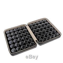 60Pcs Loose Diamond Display Box Gemstone Storage Case Leather Carrying Case