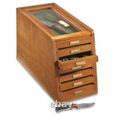 7 Drawer Collector's Cabinet Knife Display Case Tool Storage Solid Wood Quality