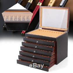 78 Slots Fountain Pen Wood Display Case Holder Storage Collector Organizer Box