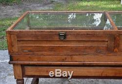 8 Antique American Country Store DISPLAY CABINET Show Case OAK VITRINE Glass