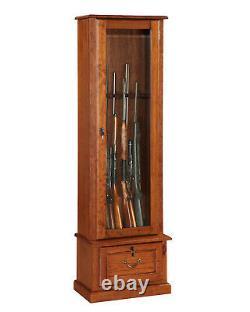 8-GUN LOCKING WOOD Display Cabinet with Storage Shelf, Cherry, Rifles & Shotguns