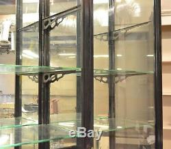 9' TALL Black Wood Glass DISPLAY Show Case STORE MERCANTILE Tomlinson Antiques