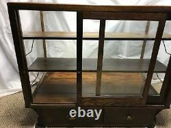 ANTIQUE WOOD GLASS COUNTRY STORE FRONT DISPLAY CASE SHOWCASE WithSHELVES & DRAWERS