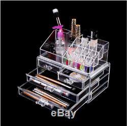 Acrylic Jewelry Makeup Cosmetic Organizer Case Display Holder Storage Box Drawer