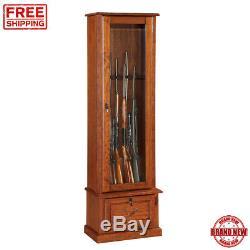 American Furniture Classic Locking 8 Gun Storage Wood Cabinet Glass Display Case