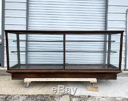 Antique 8' General Company Store Candy Display Case Oak Glass Searight Mine PA