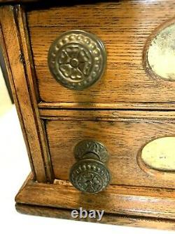 Antique CLARKS O. N. T Oak Spool Cotton 2 Drawer Store Display Cabinet