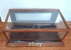 Antique Countertop Display Case Oak Wood Store Glass Watch Jewelry