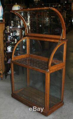 Antique Curve Glass Store Display Cane Case Umbrella Walking Stick Golf Club Oak