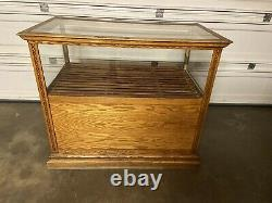 Antique Display Case Retail Store Museum Business Counter Shelves Glass Wood Lrg