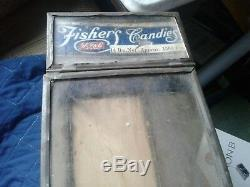 Antique Fisher's Candies Counter Display Case-general Store Antique-all Original