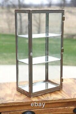 Antique General Store Counter Display Cabinet Display Case with Glass Metal