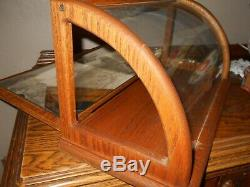 Antique General Store Mirrored Curved Glass Counter Display Case